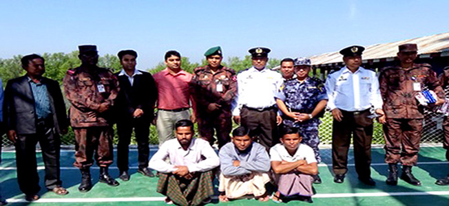 Bangladeshi released prisoners with BGB and BGP in Maungdaw