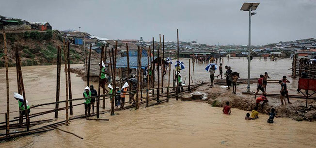 Heavy rain downfall make Rohingya Refugee camp under water in September, 2019
