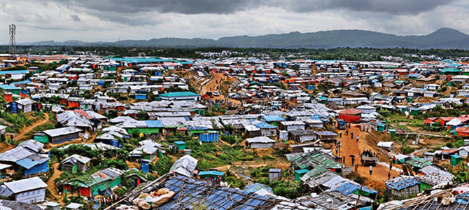 Rohingya refugee camp overview in Cox's Bazar , Bangladesh