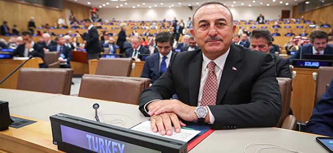 """Turkey's Foreign Minister Mevlut Cavusoglu at a high-level side event entitled """"Rohingya Crisis - A Way Forward"""" at the 74th United Nations General Assembly in New York"""